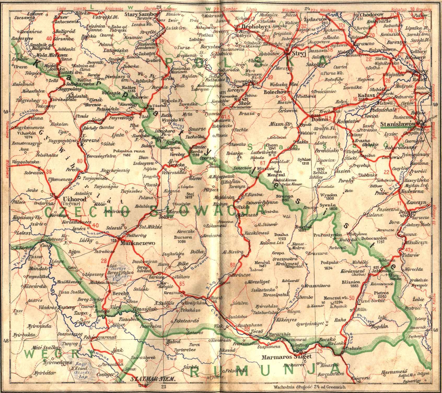 Mapa Komunikacyjna Polski Przedwojennej